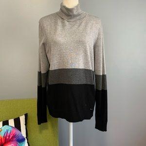 Calvin Klein Grey Black Striped Turtleneck Sweater